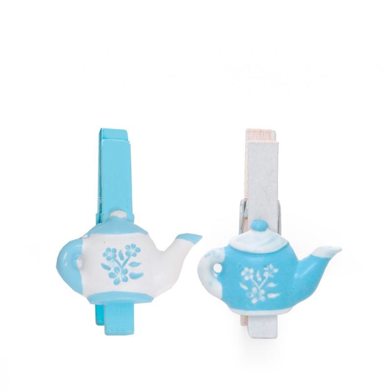 Mini Prendedor Chaleira Azul e Branca • Kit c/6un. • CROMUS