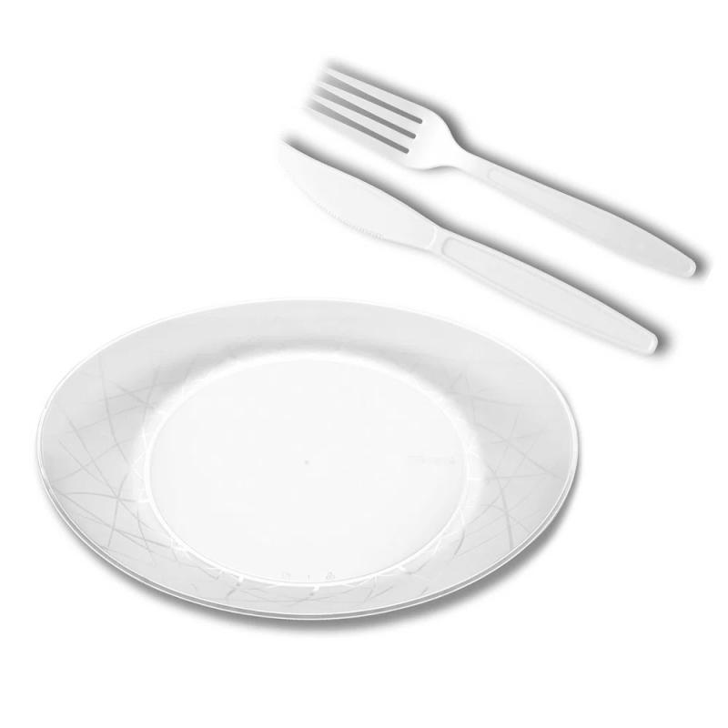 Kit Churrasco Oval Branco - 10Un - Prafesta
