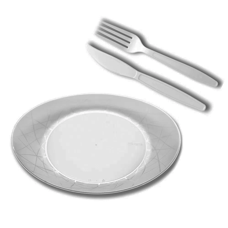 Kit Churrasco Oval Cristal - 10Un - Prafesta