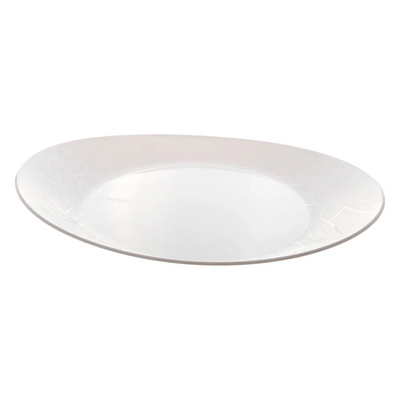 Prato Oval Branco Luxo 21x25cm - 10Un - Prafesta