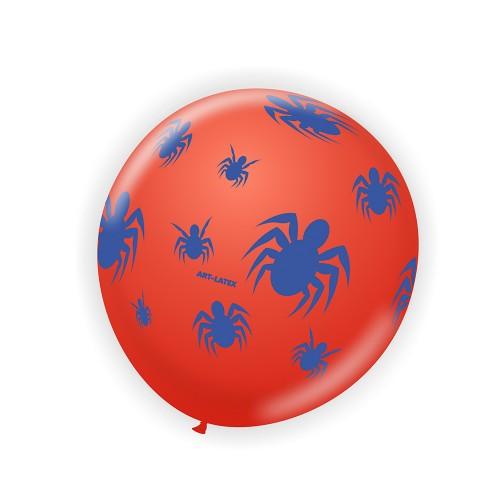 Balão Vermelho C/ Aranhas • Nº9 • 25 un.