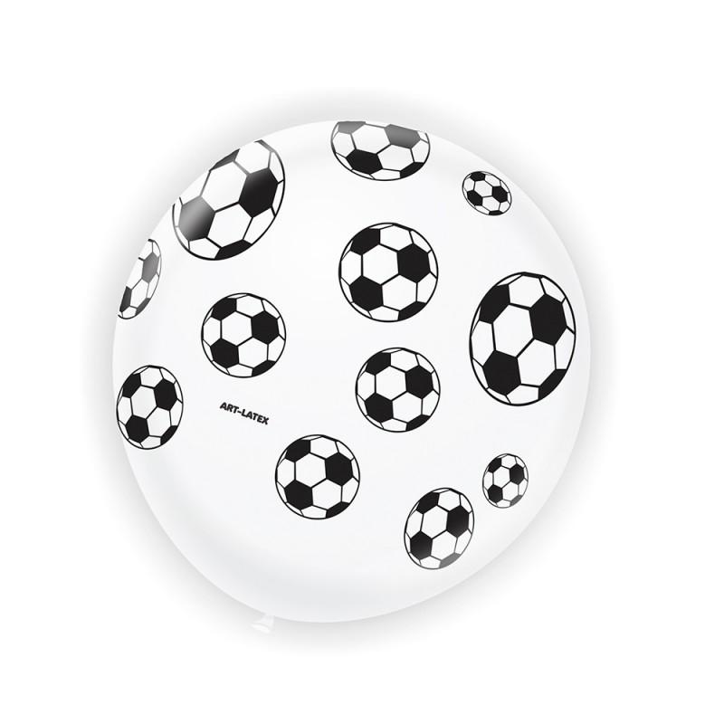 Balão Branco C/ Bolas de Futebol •Nº9 •25 un.