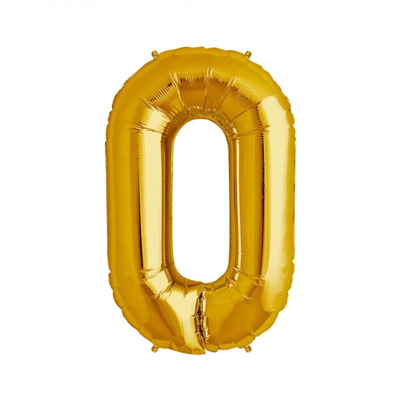 Balão Número Metalizado • Grande • Dourado • 0
