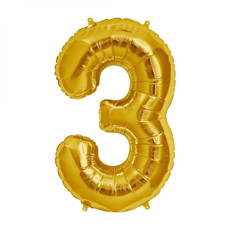 Balão Número Metalizado • Grande • Dourado • 3