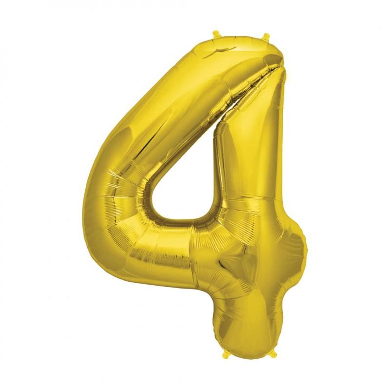 Balão Número Metalizado • Grande • Dourado • 4
