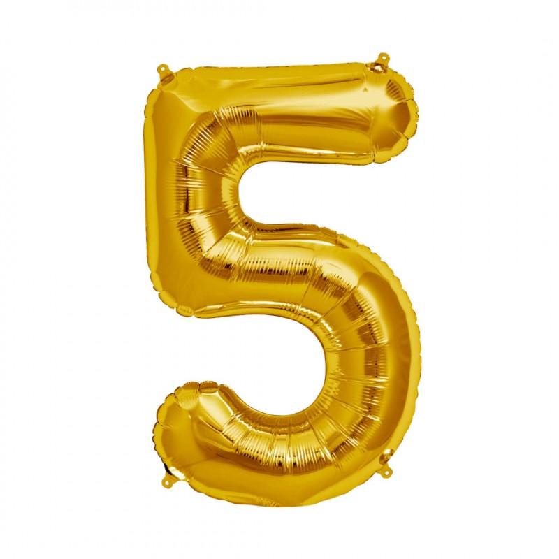 Balão Número Metalizado • Grande • Dourado • 5