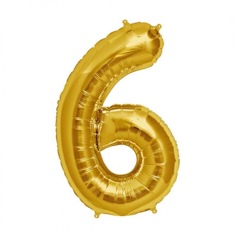 Balão Número Metalizado • Grande • Dourado • 6