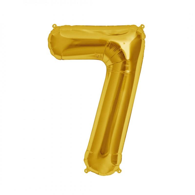 Balão Número Metalizado • Grande • Dourado • 7
