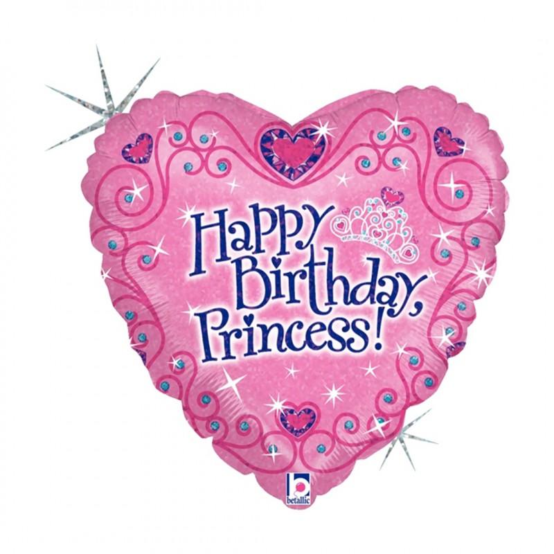 Balão Coração • Rosa - Happy Birthday Princess • Foil • Funny Fashion
