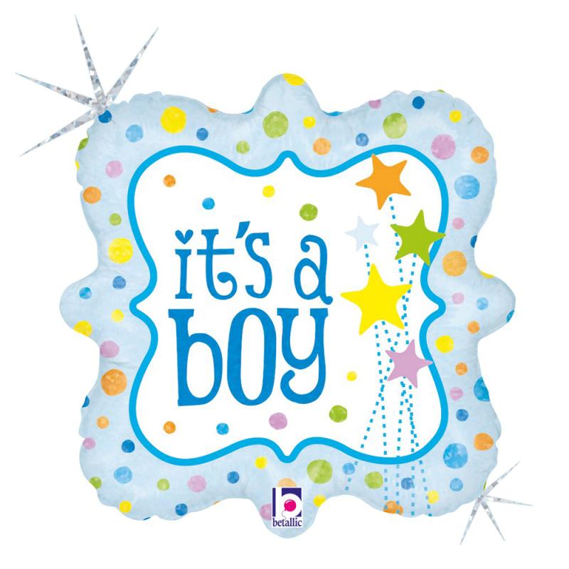 Balão It's a Boy • É um menino • Quadrado 18'' • 1Un • Vazio • Cromus