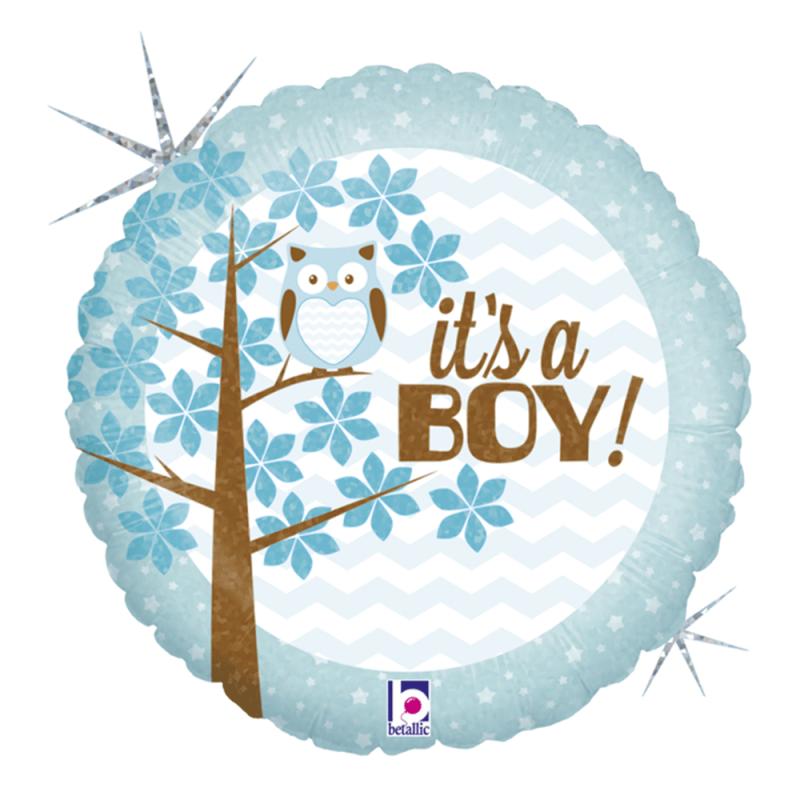 Balão It's a Boy • É um menino • Redondo 18'' • 1Un • Vazio • Grabo