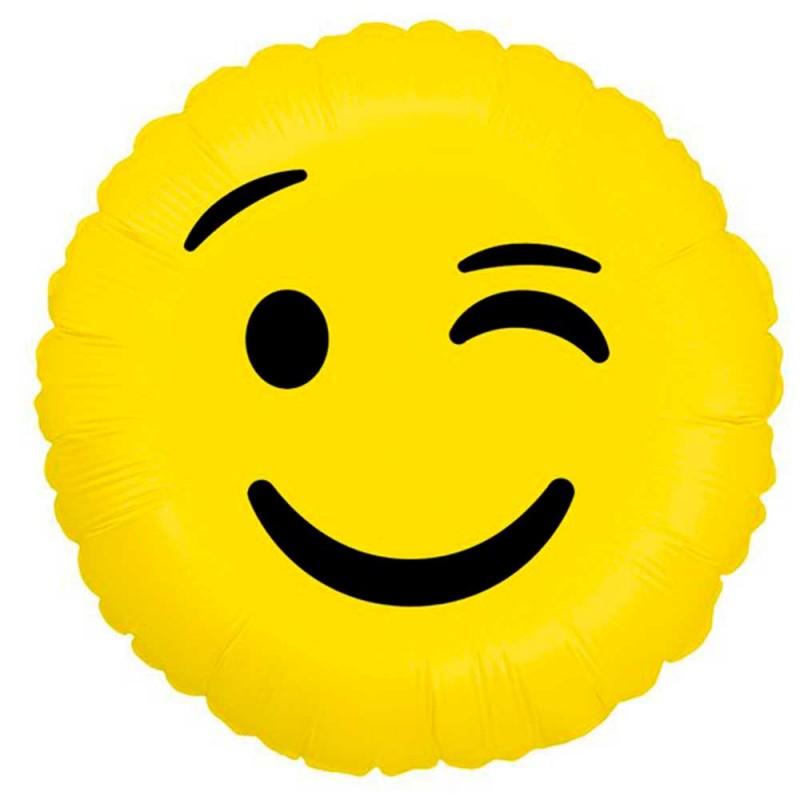 Balão Emoji Piscadinha • Foil • Grabo