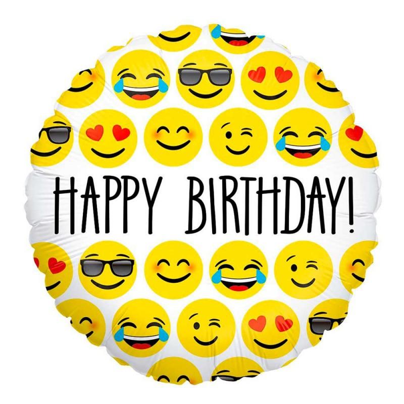 Balão Happy Birthday Emoji • Foil • Grabo