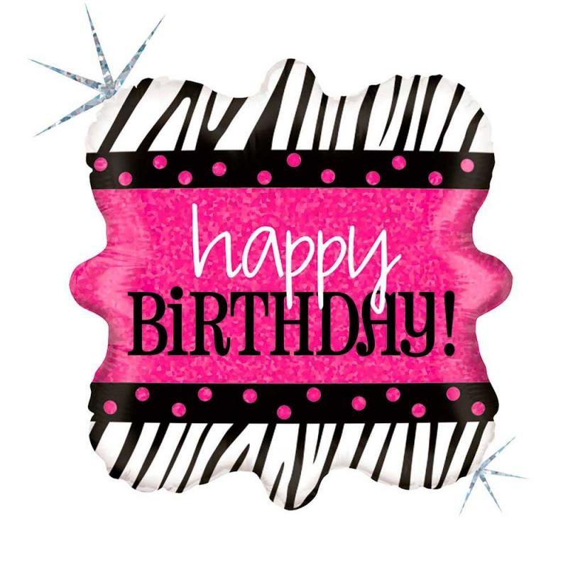 Balão Happy Birthday • Quadrado 18'' • 1Un • Vazio • Cromus