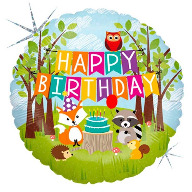 Balão Happy Birthday • Metalizado • Vazio • 18'' • Grabo