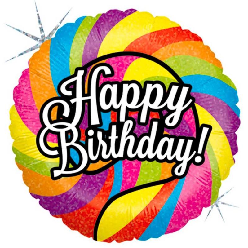 Balão Happy Birthday • Colorido • Foil • Grabo