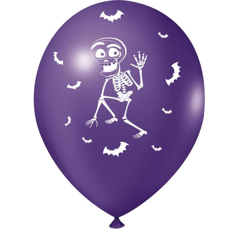 Balão Estampado • Esqueleto • Roxo • Nº9 • 25 un • JOY