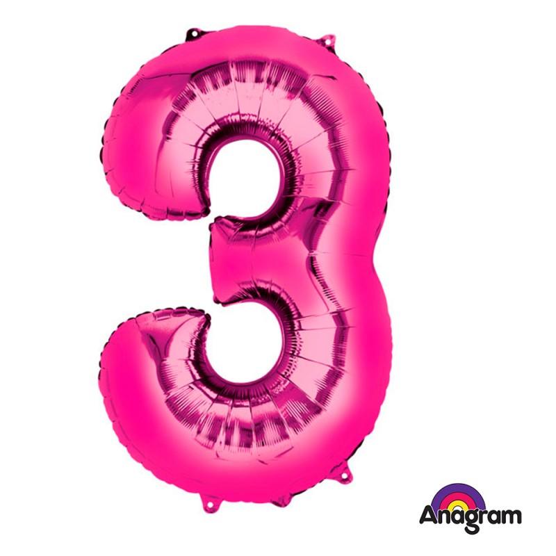 Balão N° 3 Rosa Metalizado Grande