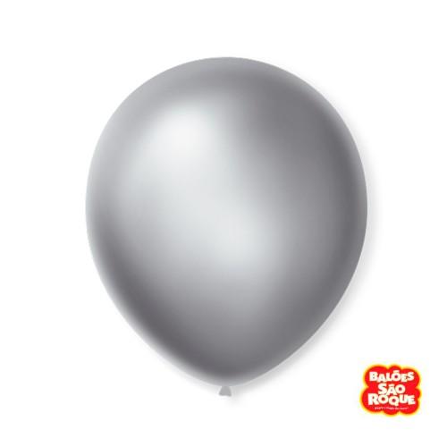Balão Prata Cintilante Nº9 • 50 un.• São Roque