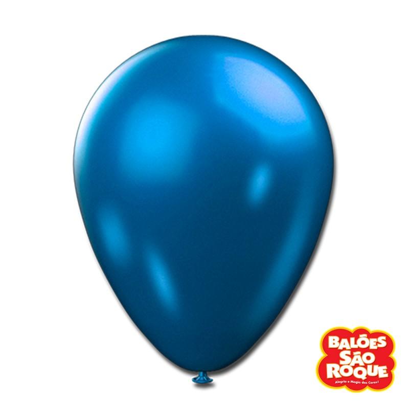 Balão Azul Metálico Nº9 • 25un.• São Roque