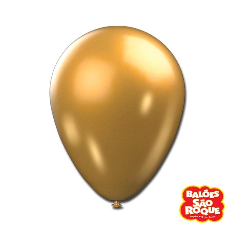 Balão Dourado Metálico Nº9 • 25un.• São Roque