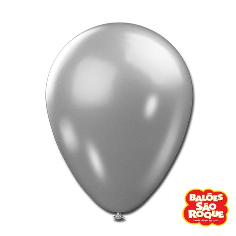 Balão Prateado Metálico Nº9 • 25un.• São Roque