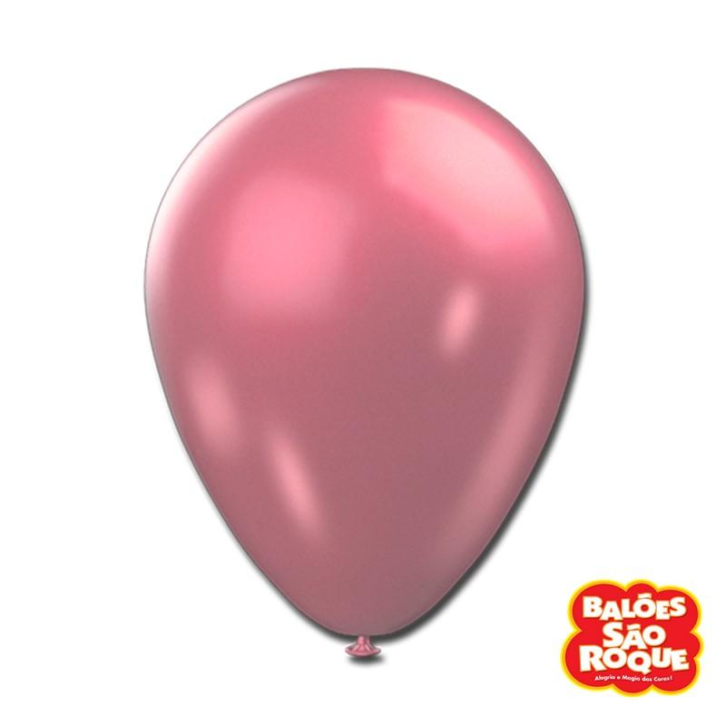 Balão Rosa Metálico Nº9 • 25un.• São Roque