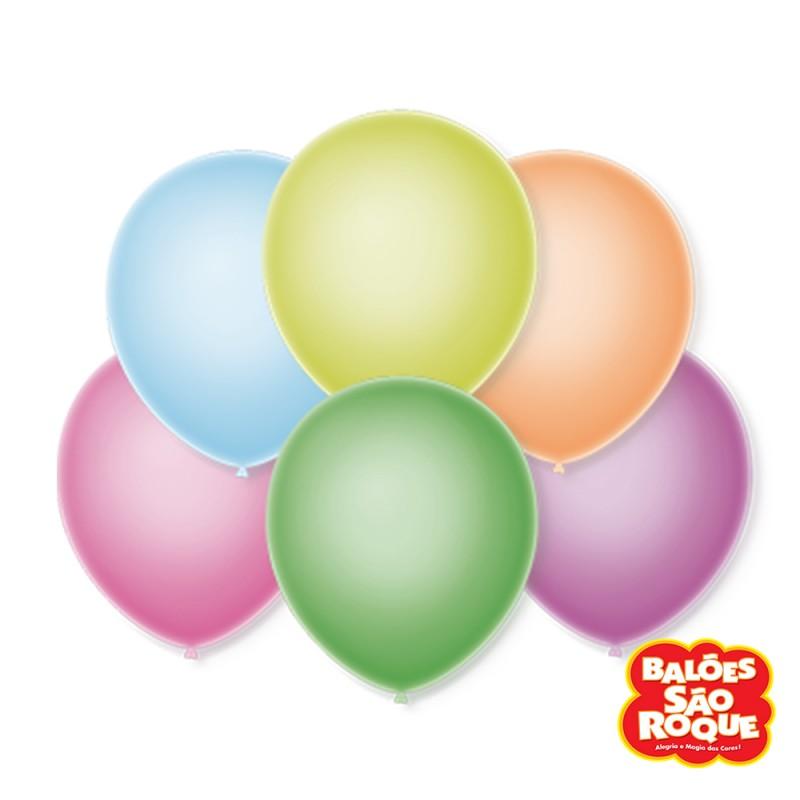 Balão Látex Neon Sortido Nº9 • 25un.• São Roque