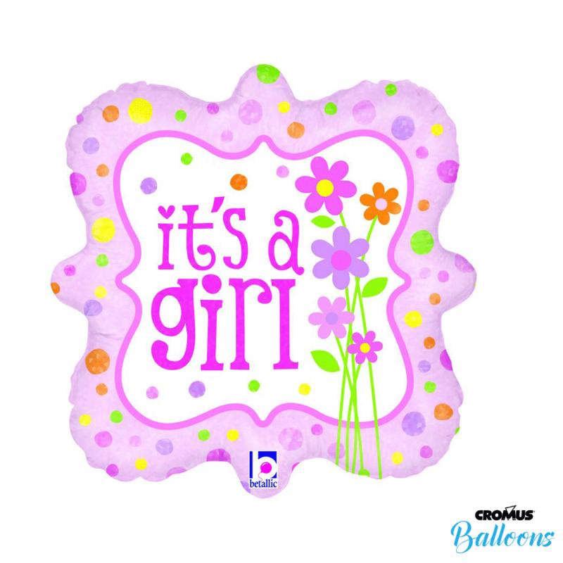 Balão It's a Girl • É uma menina • Quadrado 18'' • 1Un • Vazio • Cromus