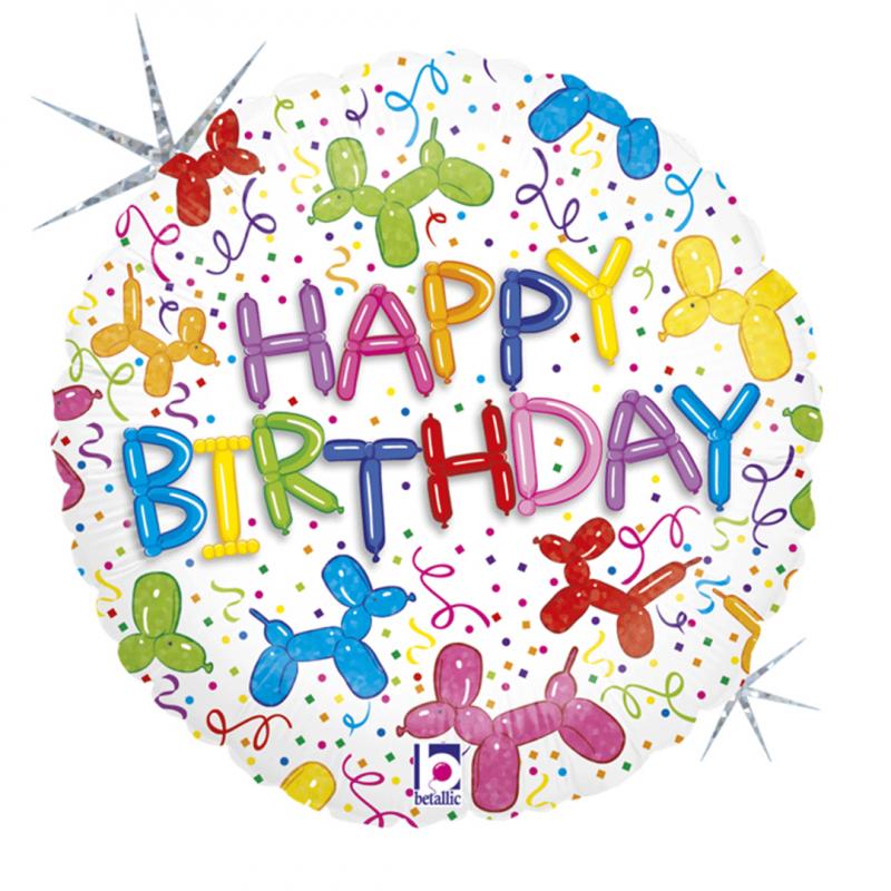 Balão Happy Birthday • Metalizado • Vazio • 18'' • Megatoon