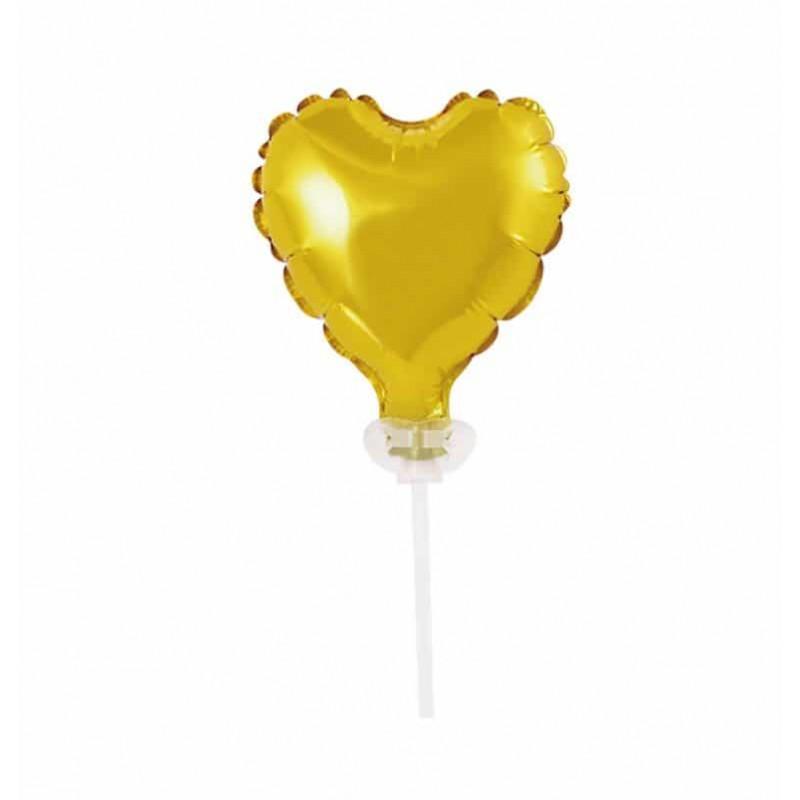 Balão Metalizado • Topper de Bolo • Dourado • Coração
