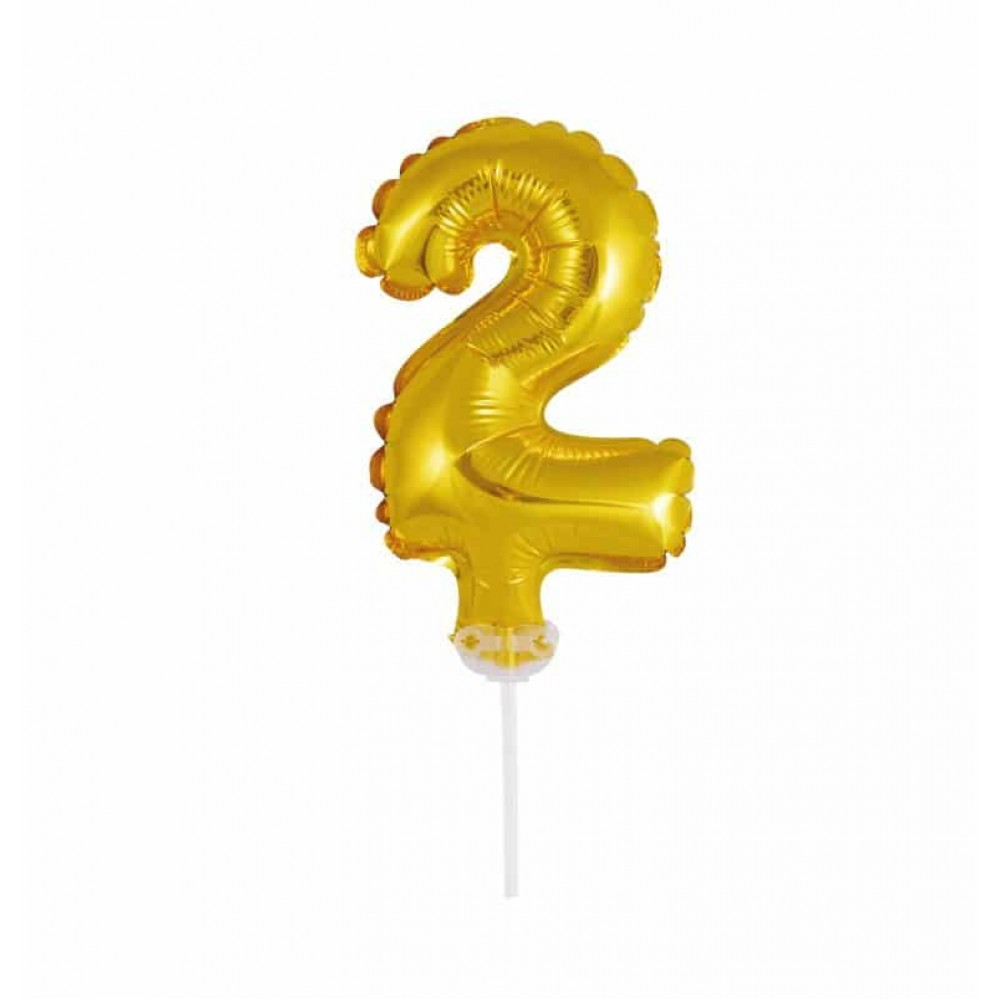 Balão Número Metalizado • Topper de Bolo • Dourado • 2