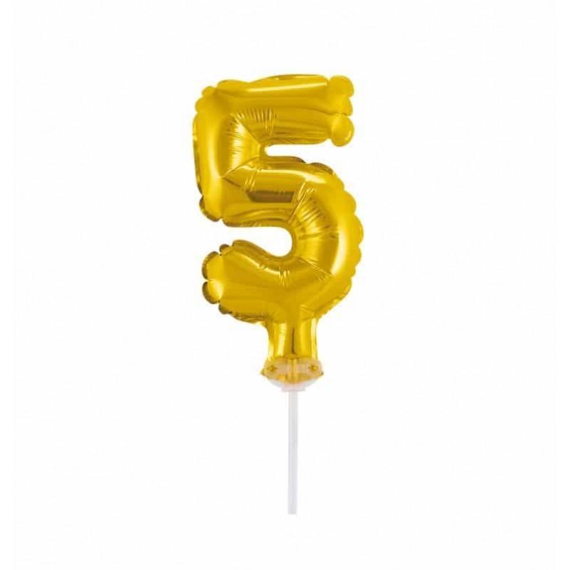 Balão Número Metalizado • Topper de Bolo • Dourado • 5