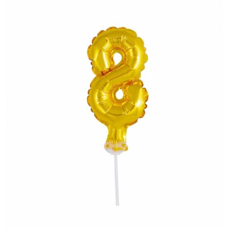 Balão Número Metalizado • Topper de Bolo • Dourado • 8