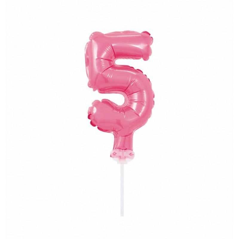 Balão Número Metalizado • Topper de Bolo • Rosa • 5