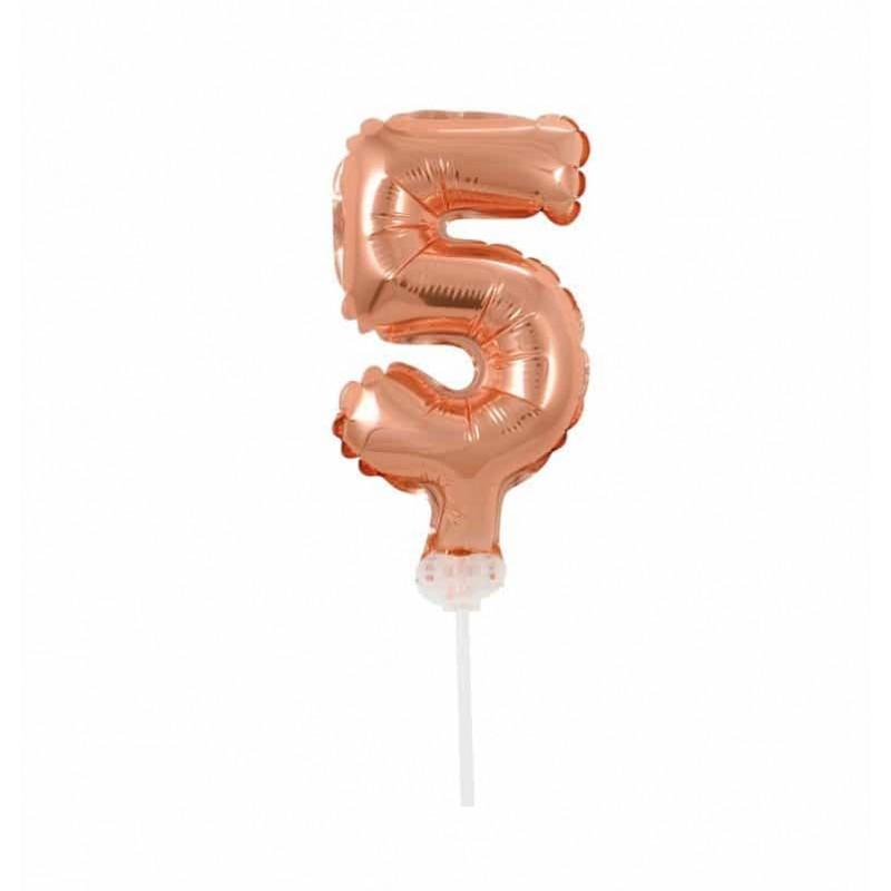 Balão Número Metalizado • Topper de Bolo • Rose • 5
