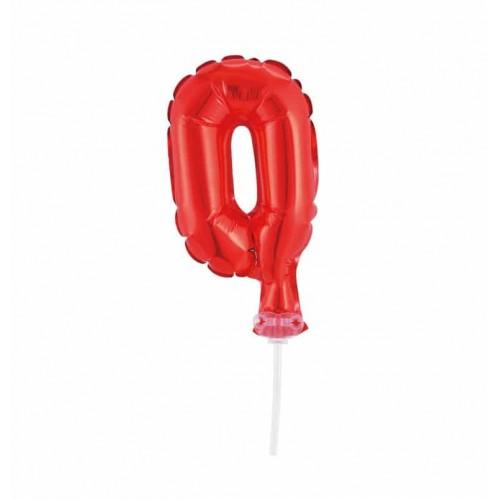 Balão Número Metalizado • Topper de Bolo • Vermelho • 0