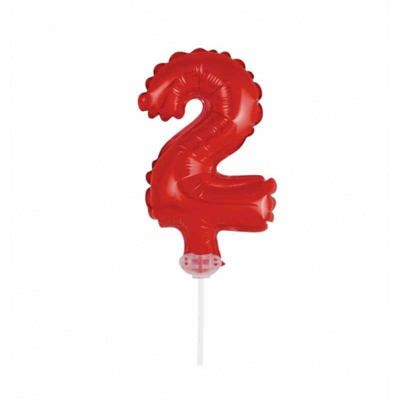 Balão Número Metalizado • Topper de Bolo • Vermelho • 2