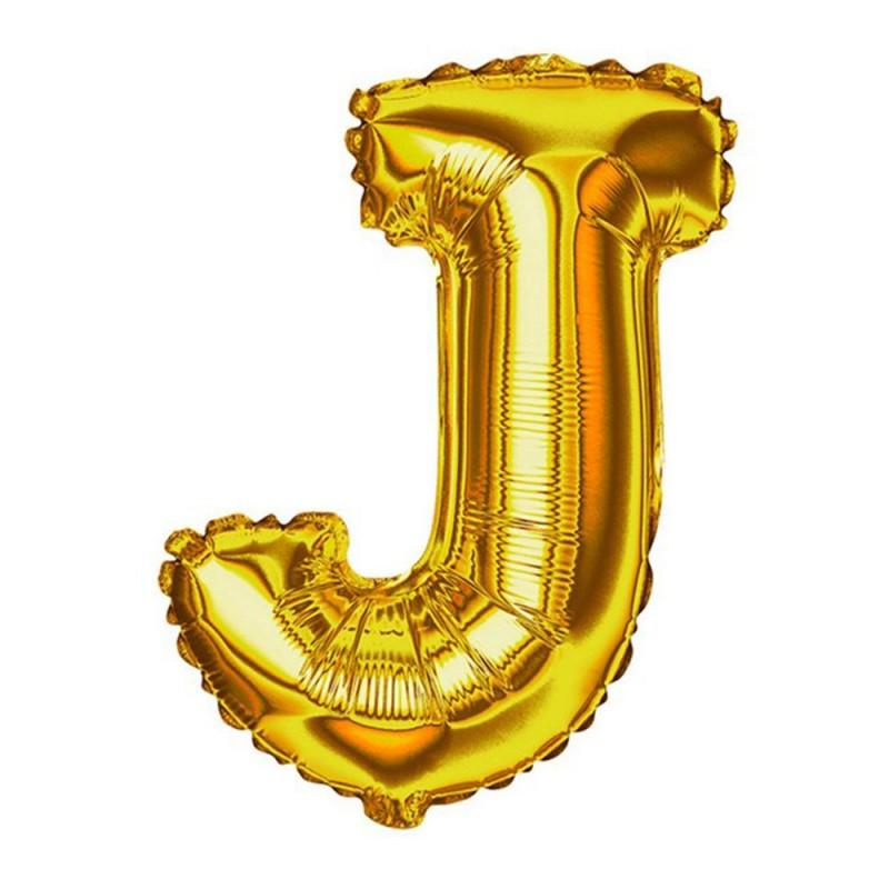 """Balão Letra Metalizada • 40"""" 100cm • Dourado • J"""