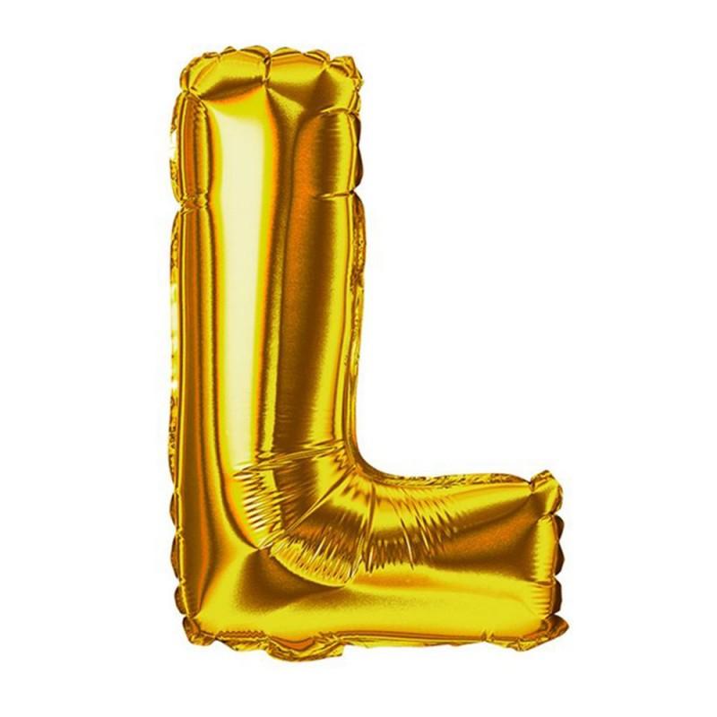 """Balão Letra Metalizada • 40"""" 100cm • Dourado • L"""