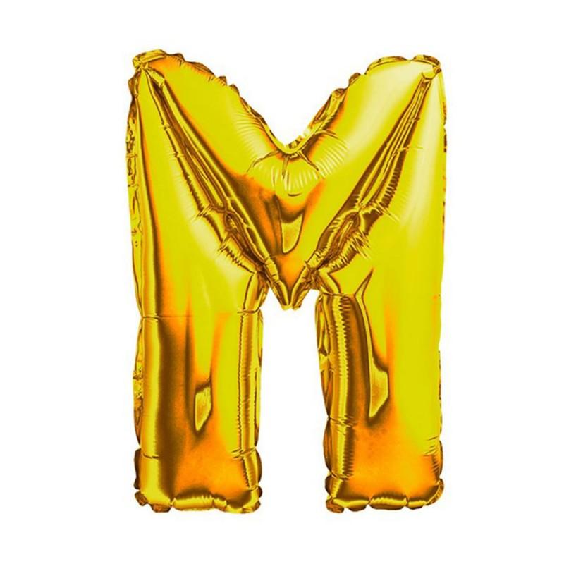 """Balão Letra Metalizada • 40"""" 100cm • Dourado • M"""