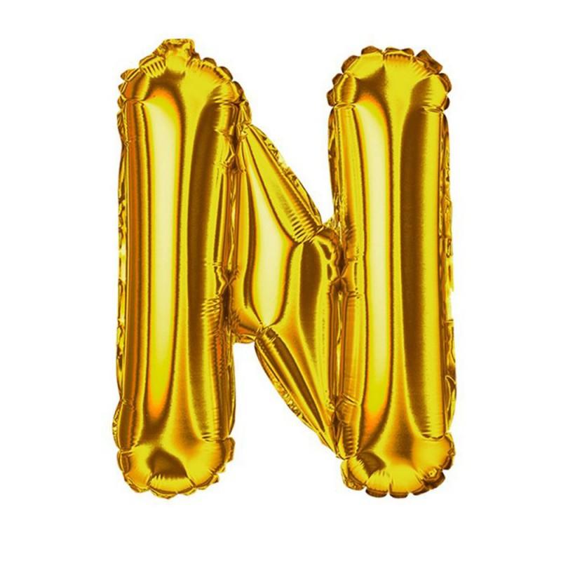 """Balão Letra Metalizada • 40"""" 100cm • Dourado • N"""