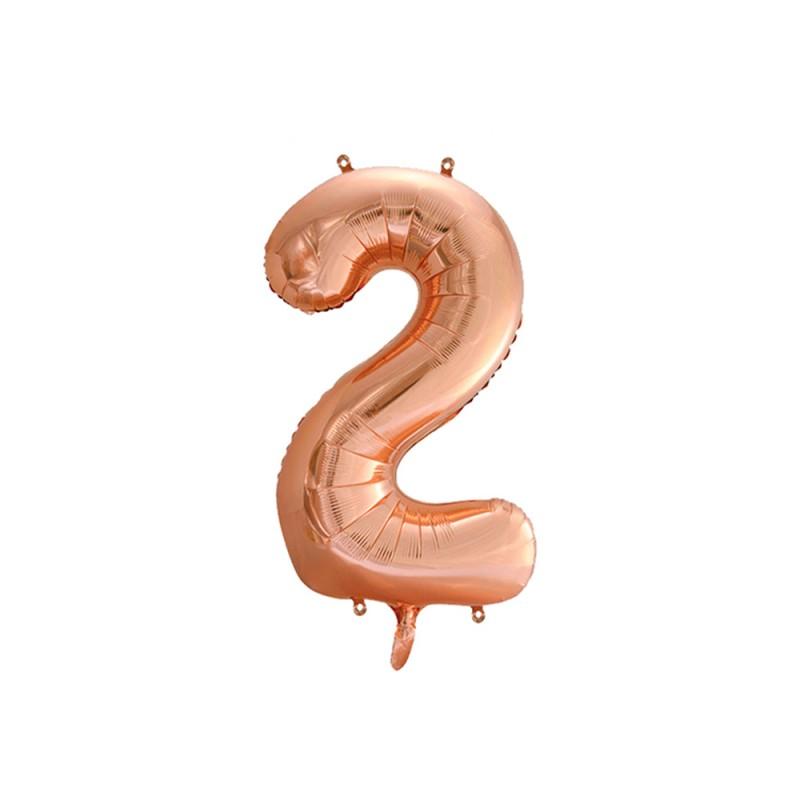 Balão Número Metalizado • Grande • Rose Gold • 2