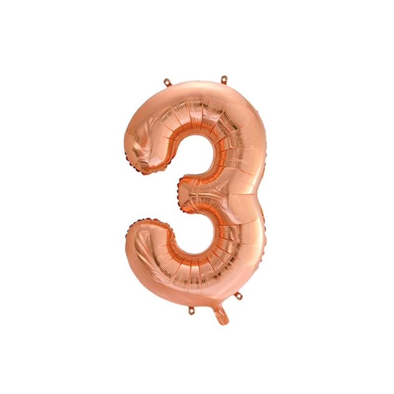 Balão Número Metalizado • Grande • Rose Gold • 3