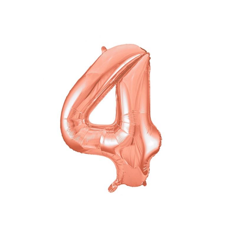 Balão Número Metalizado • Grande • Rose Gold • 4