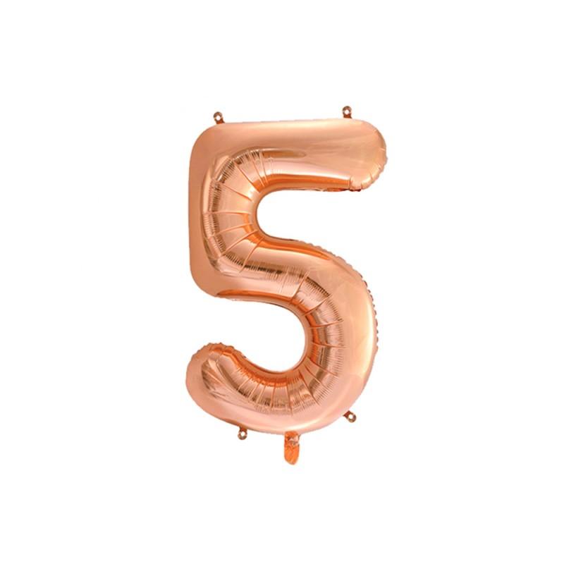 Balão Número Metalizado • Grande • Rose Gold • 5