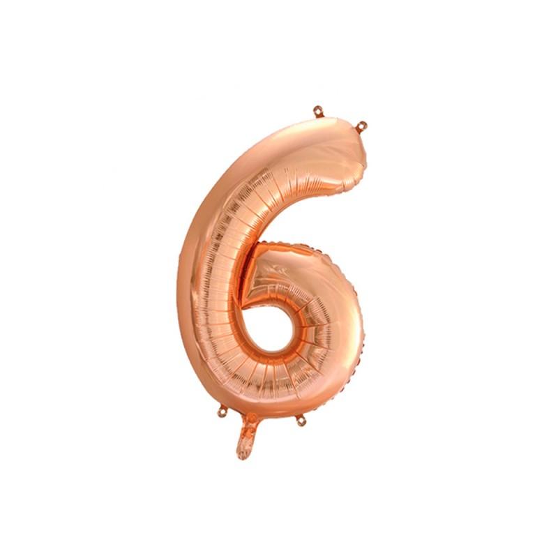 Balão Número Metalizado • Grande • Rose Gold • 6