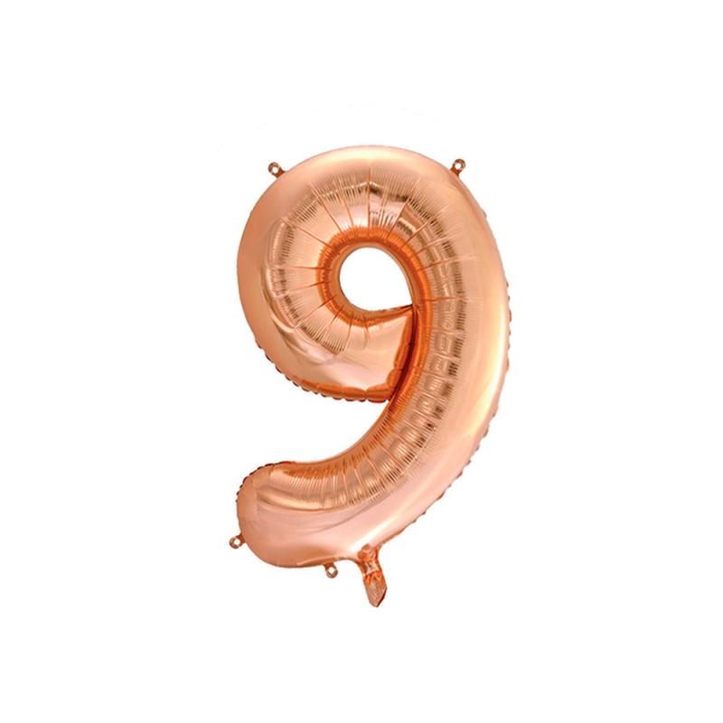 Balão Número Metalizado • Grande • Rose Gold • 9