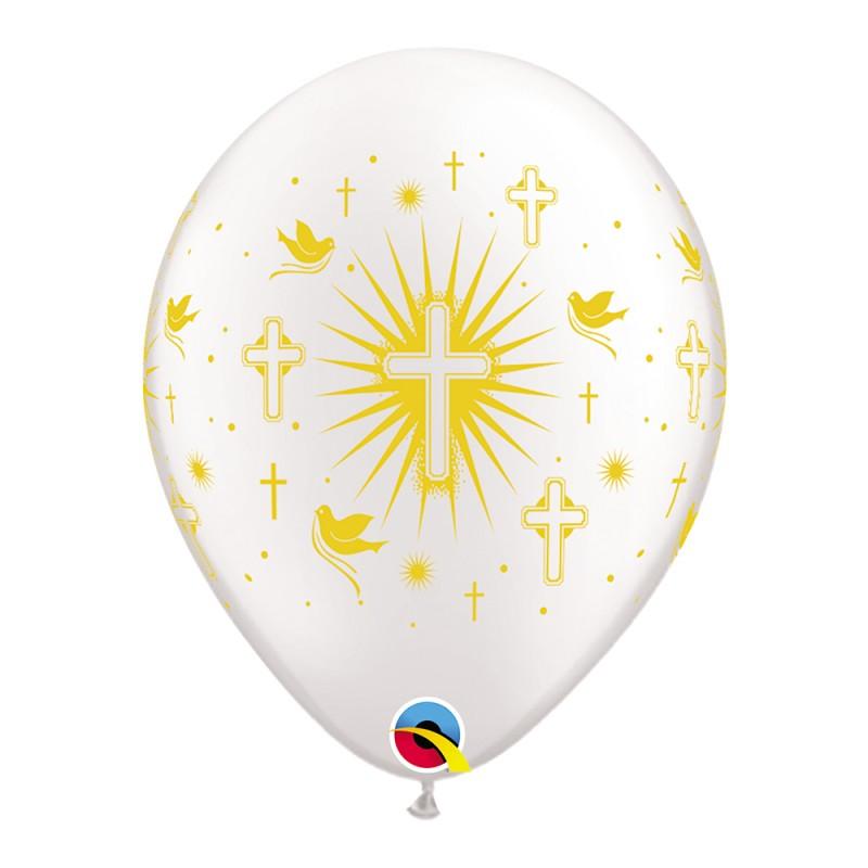 Balão Cruz e Pombas • Branco c/ Dourado • Nº11 • 50 un.
