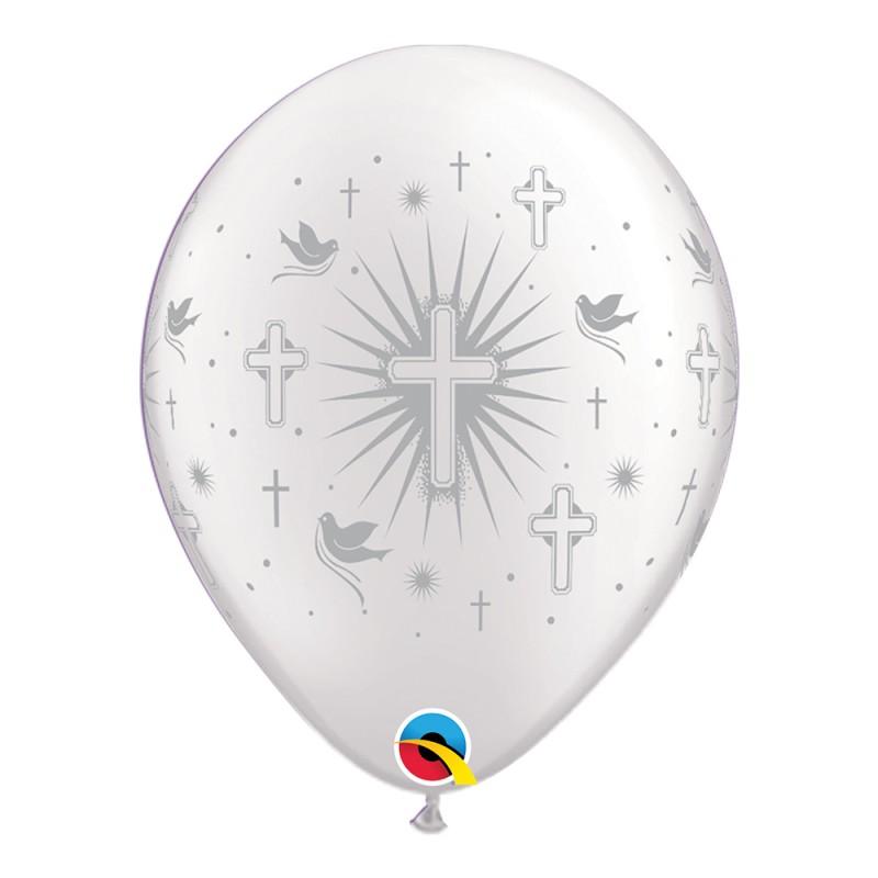 Balão Cruz e Pombas • Branco c/ Prata • Nº11